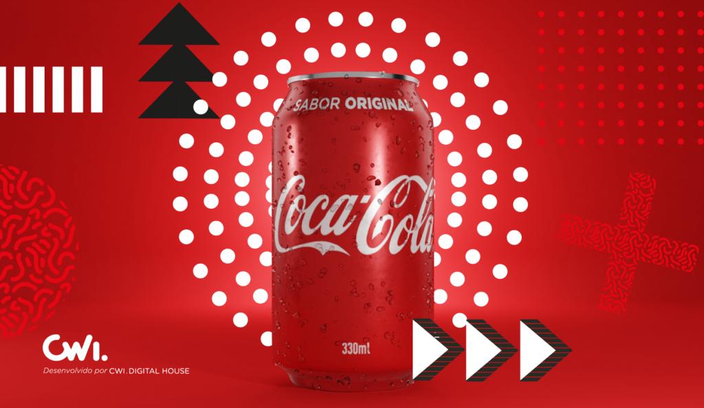 Imagem com fundo vermelho e desenhos gráficos (triângulos e pontos) em preto e branco. No centro da ilustração vemos uma lata de Coca-Cola com gotas de água escorrendo.